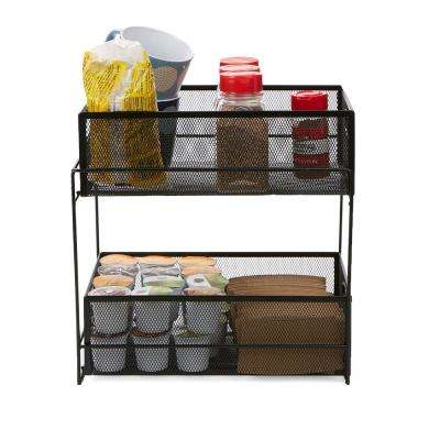 2-Tier Metal Mesh Storage Baskets Organizer in Black