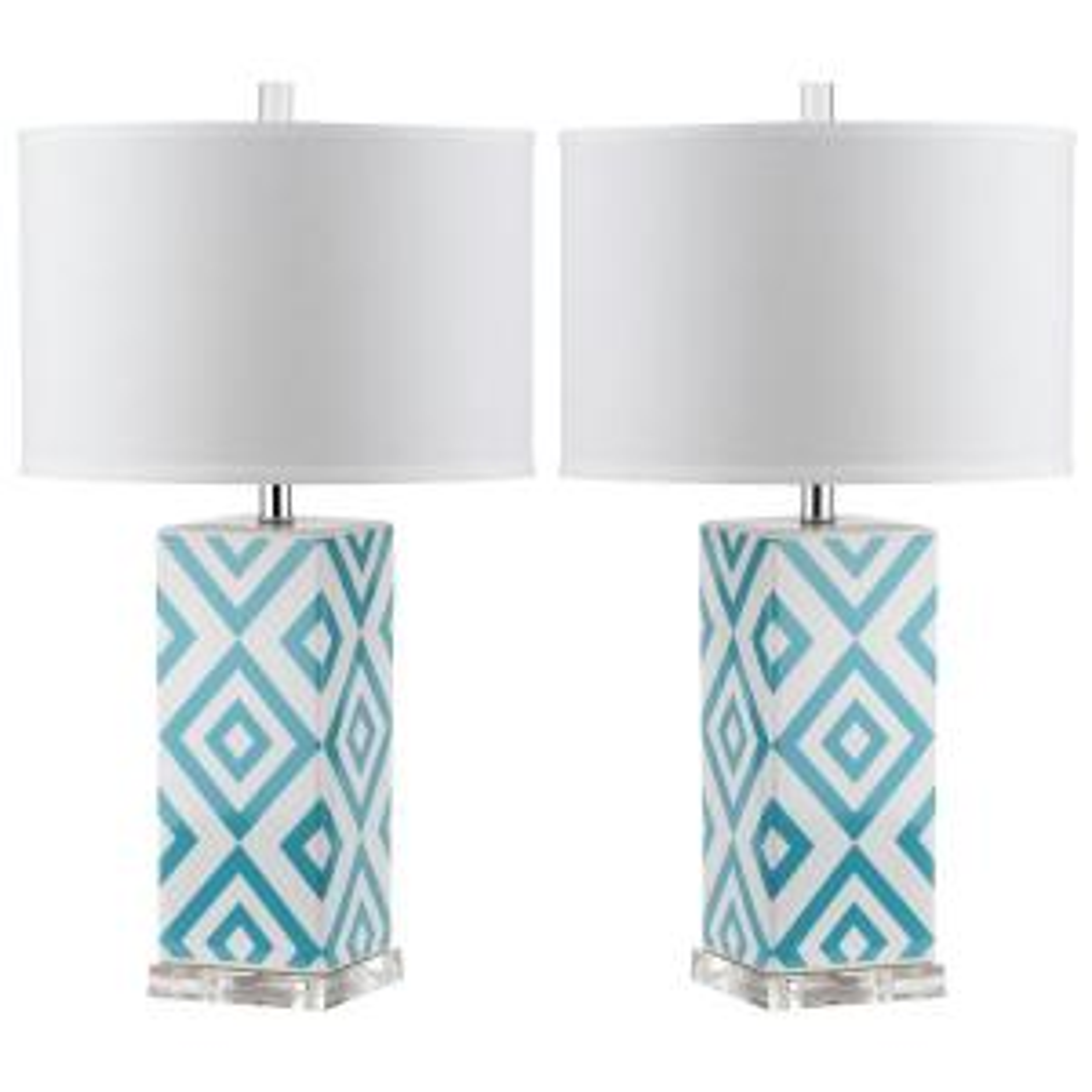 Light Blue Table Lamp (Set Of 2) LIT4135B SET2   The Home Depot