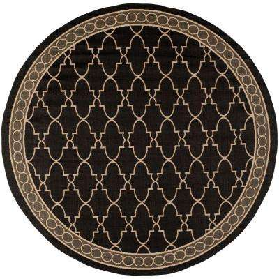 Courtyard Black/Beige 8 ft. x 8 ft. Indoor/Outdoor Round Area Rug