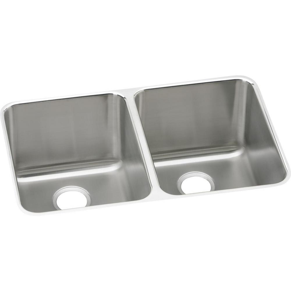 Lustertone Undermount Stainless Steel 31 in. Double Basin Kitchen Sink