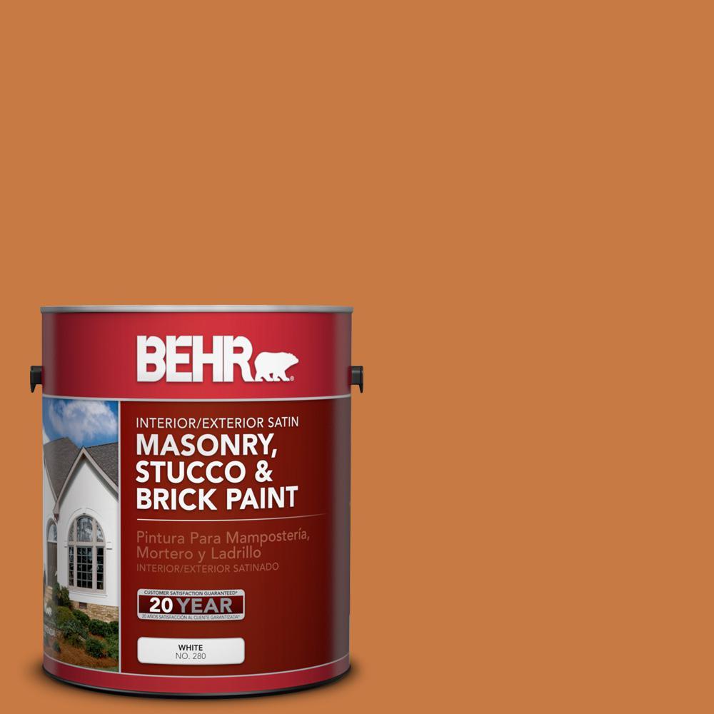 1 gal. #M230-7 Rumba Orange Satin Interior/Exterior Masonry, Stucco and Brick Paint