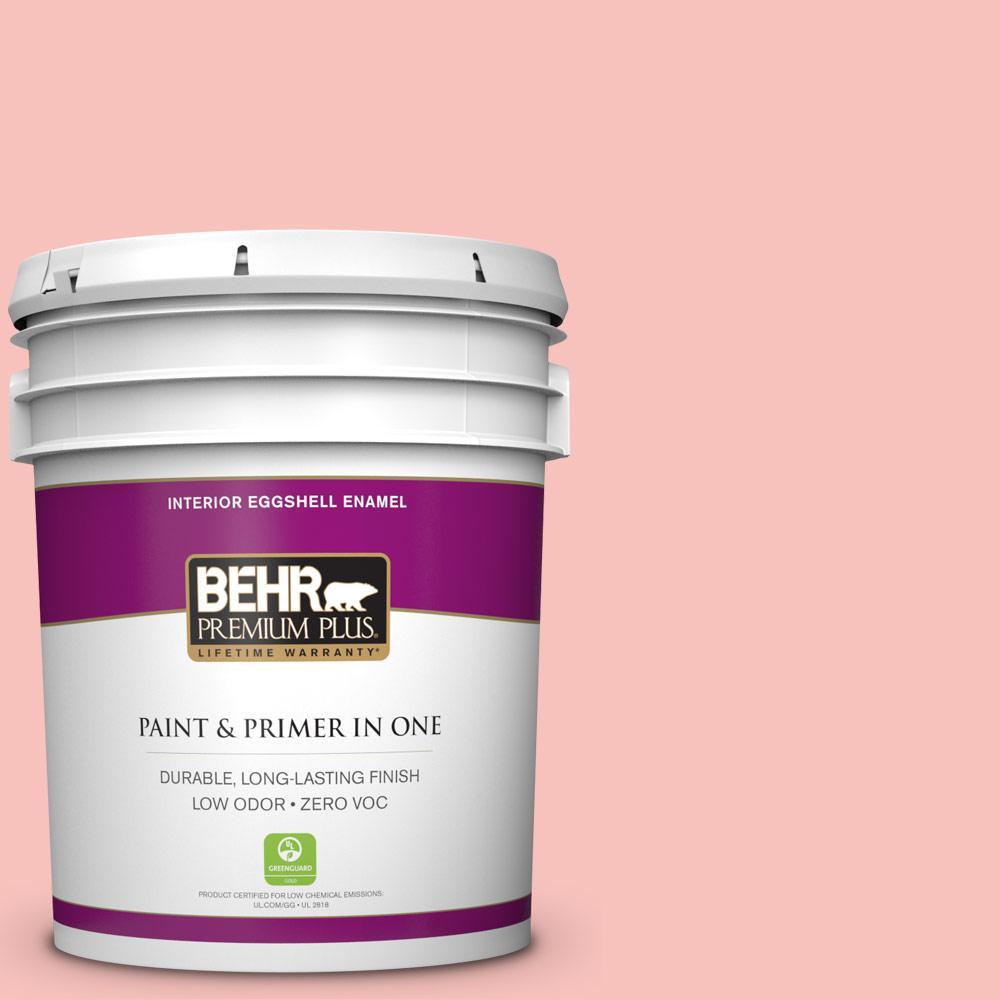 BEHR Premium Plus 5-gal. #160A-3 Pink Hydrangea Zero VOC Eggshell Enamel Interior Paint