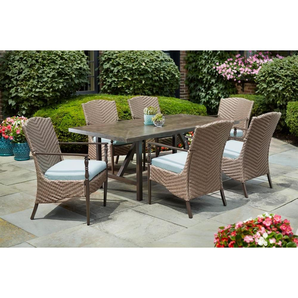 Home decorators collection bolingbrook 7 piece wicker outdoor patio dining set with sunbrella spectrum mist