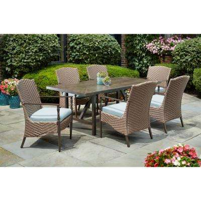 Bolingbrook 7 Piece Wicker Outdoor Patio Dining Set With Sunbrella Spectrum Mist Cushions
