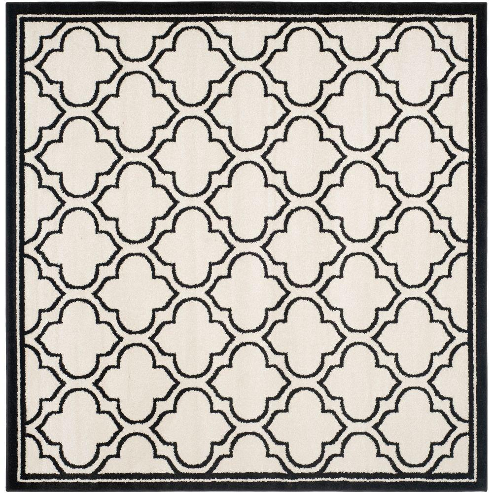 Amherst Ivory/Anthracite 7 ft. x 7 ft. Indoor/Outdoor Square Area Rug