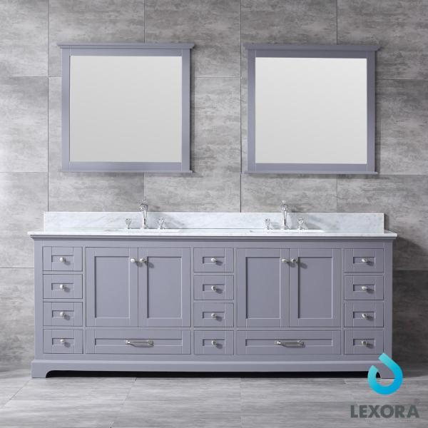 Lexora Dukes 84 In Double Bath Vanity In Dark Grey W White