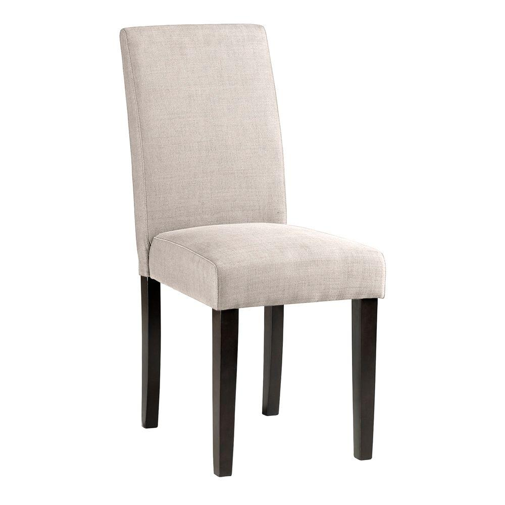 Grey Faux Linen Parsons Dining Chair
