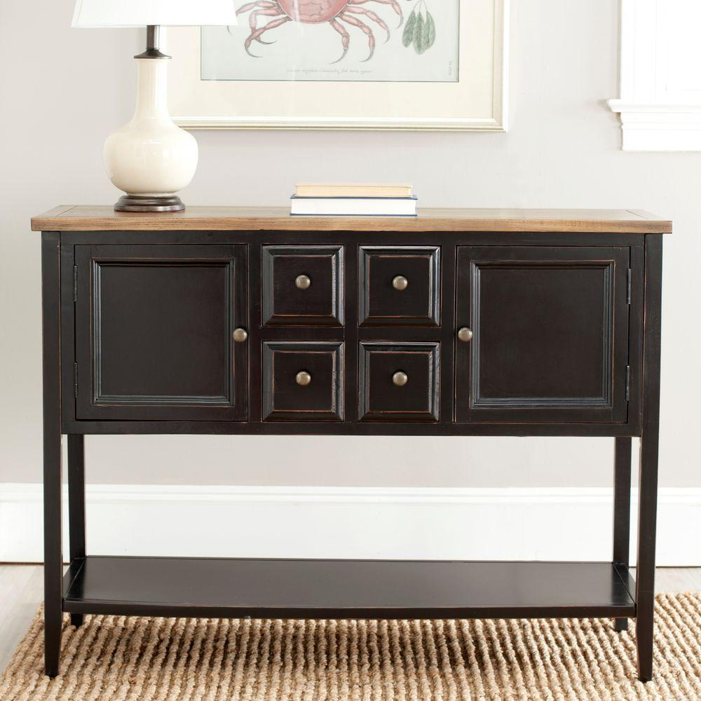 safavieh charlotte black and oak buffet with storage amh6517d the rh homedepot com