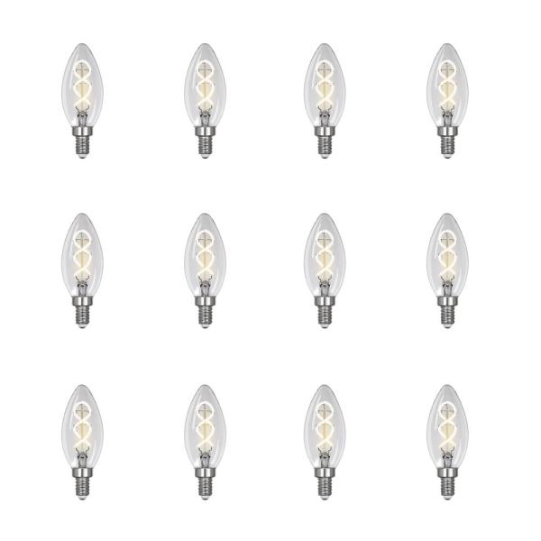 40-Watt Equivalent B10 Dimmable Candelabra Clear Glass Vintage LED Light Bulb with Spiral Filament Warm White (12-Pack)