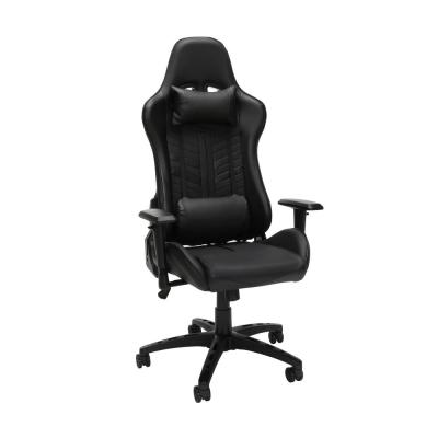 Essentials Collection Racing Style Bonded Leather Gaming Chair, in Black (ESS-6065-BLK)