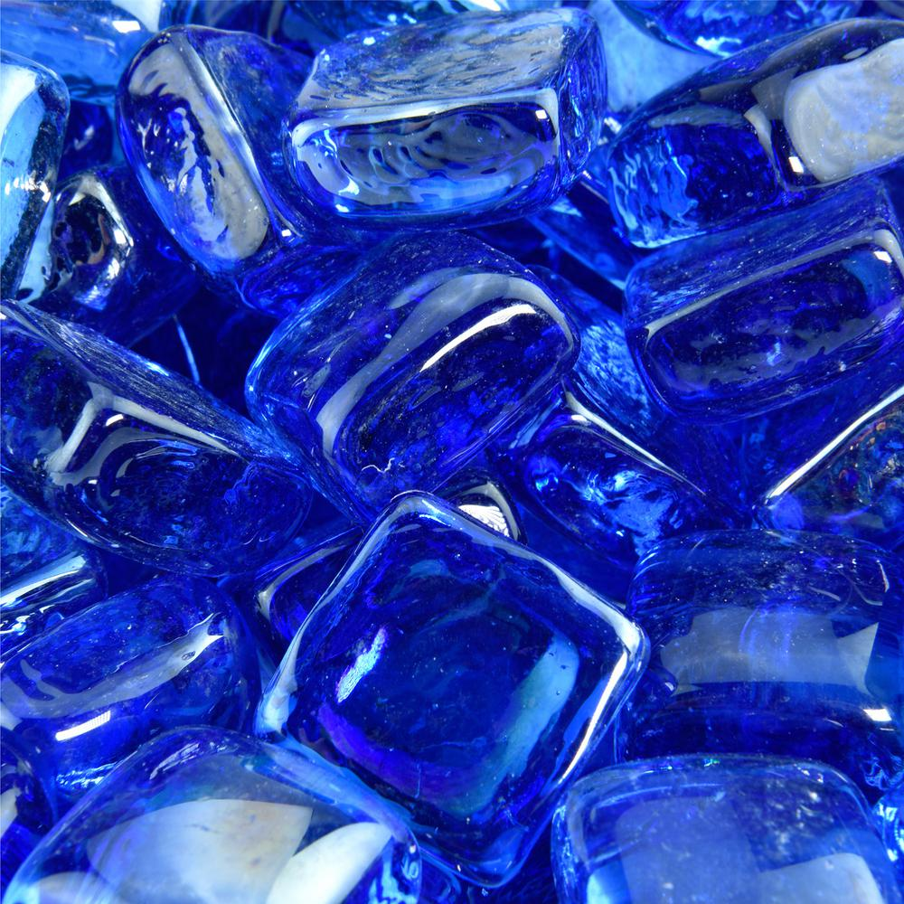 10 lbs. of Bermuda Blue 1 in. Fire Glass Cubes