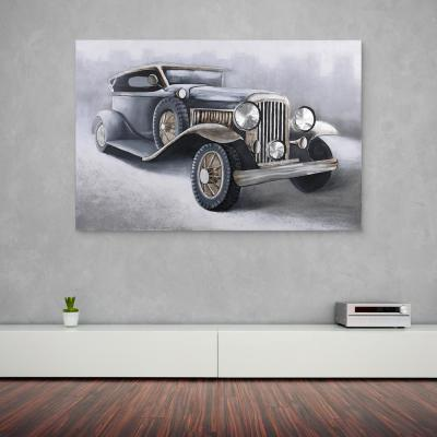 """""""Old Chevrolet"""" Antique American Roadster Heavily Textured Metallic Hand Painted Canvas Wall Art"""