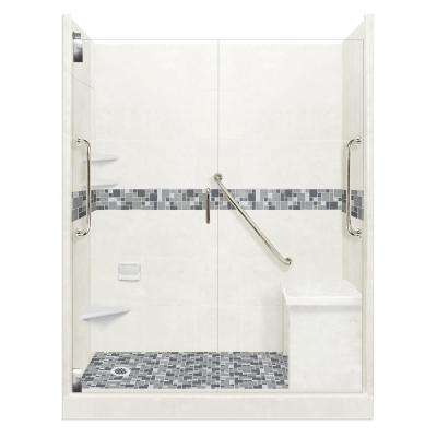 Newport Freedom Grand Hinged 42 in. x 60 in. x 80 in. Left Drain Alcove Shower Kit in Natural Buff and Satin Nickel