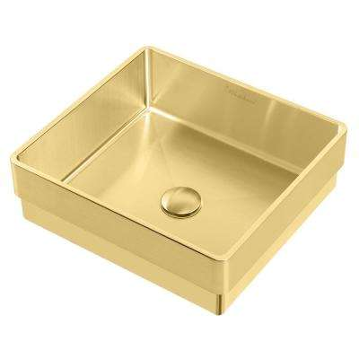 Noah Plus 15-3/4 in. Semi-Recessed Drop-In Bathroom Sink in Brass with Matching Center Drain