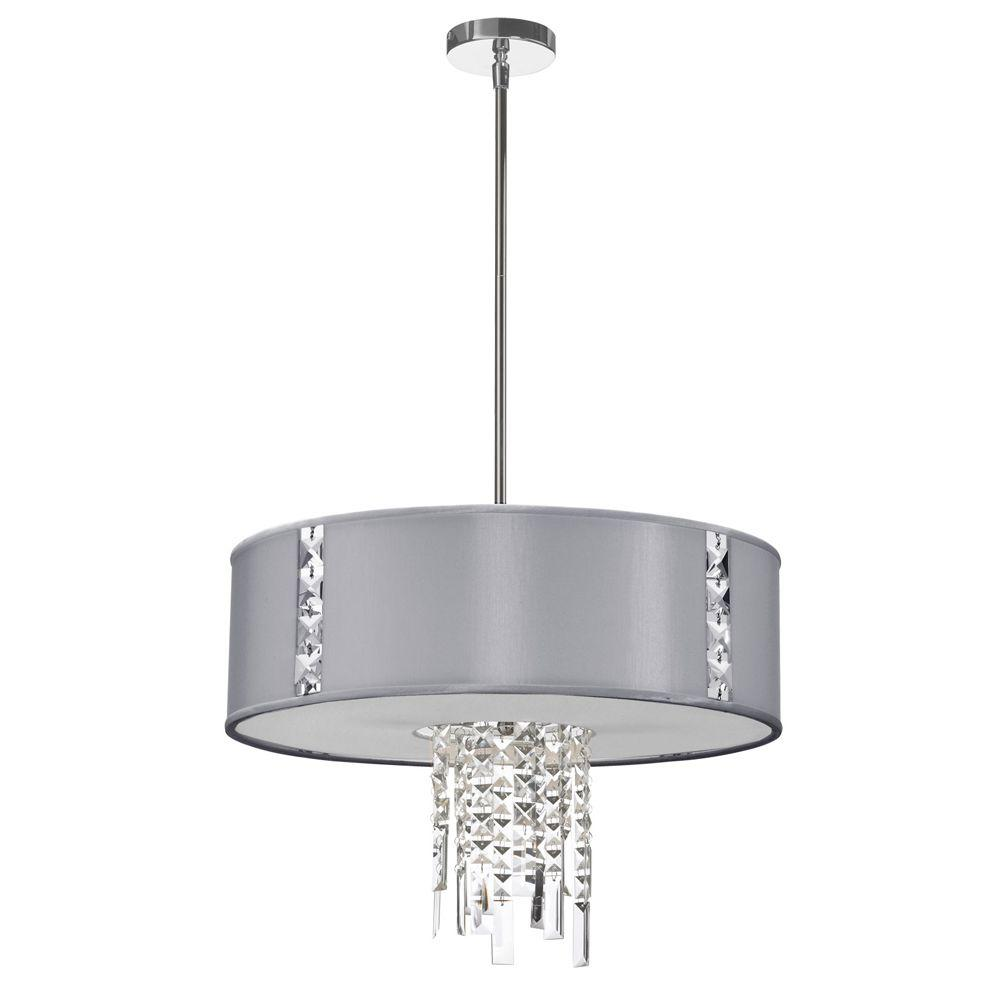 Radionic Hi Tech Rita 3-Light Steel Pendant with Crystal Accents and Silk Glow Steel Drum Shade