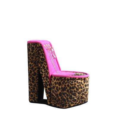 9 in. High Heel Shoe Display with Hooks Cheetah Print Jewelry Box