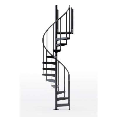 Condor Black 42 in. (3 ft. 6 in.) Wide 11 Treads with Two 36 in. H Platform Rails Spiral Stair Kit