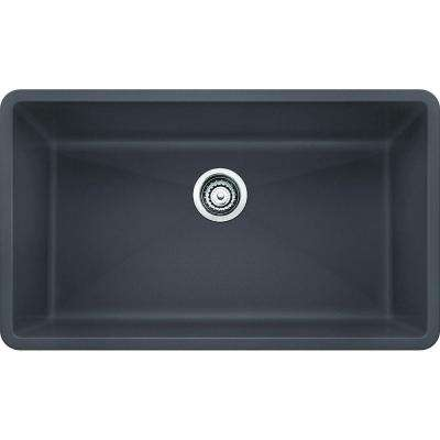 Precis Undermount Granite Composite 32 in. Super Single Bowl Kitchen Sink in Cinder