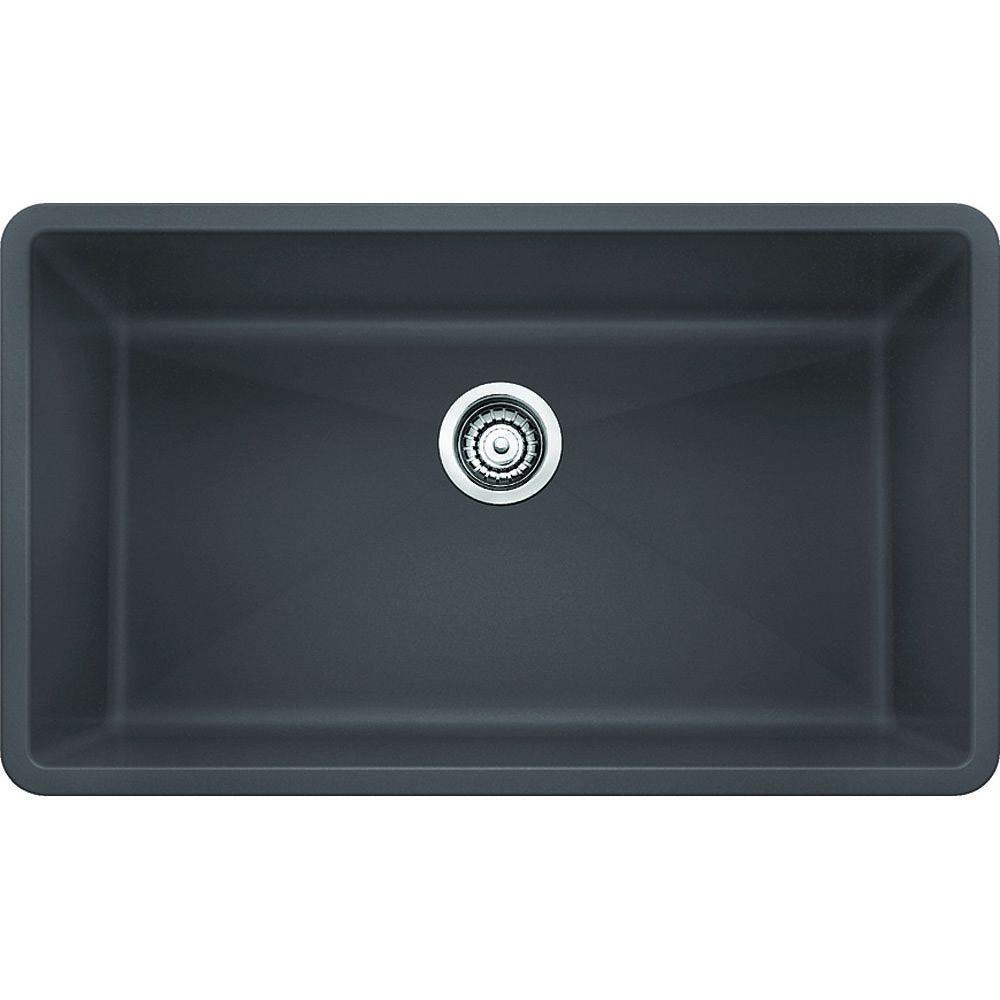 Precis Undermount Granite Composite 32 In Single Bowl Kitchen Sink Cinder