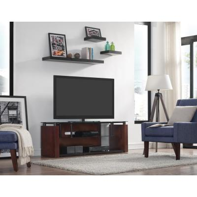 60 in. Espresso Wood TV Stand Fits TVs Up to 65 in. with Cable Management