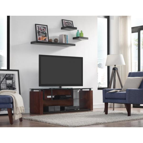 60 in. Espresso Wood TV Console Fits TVs Up to 65 in. with Cable Management