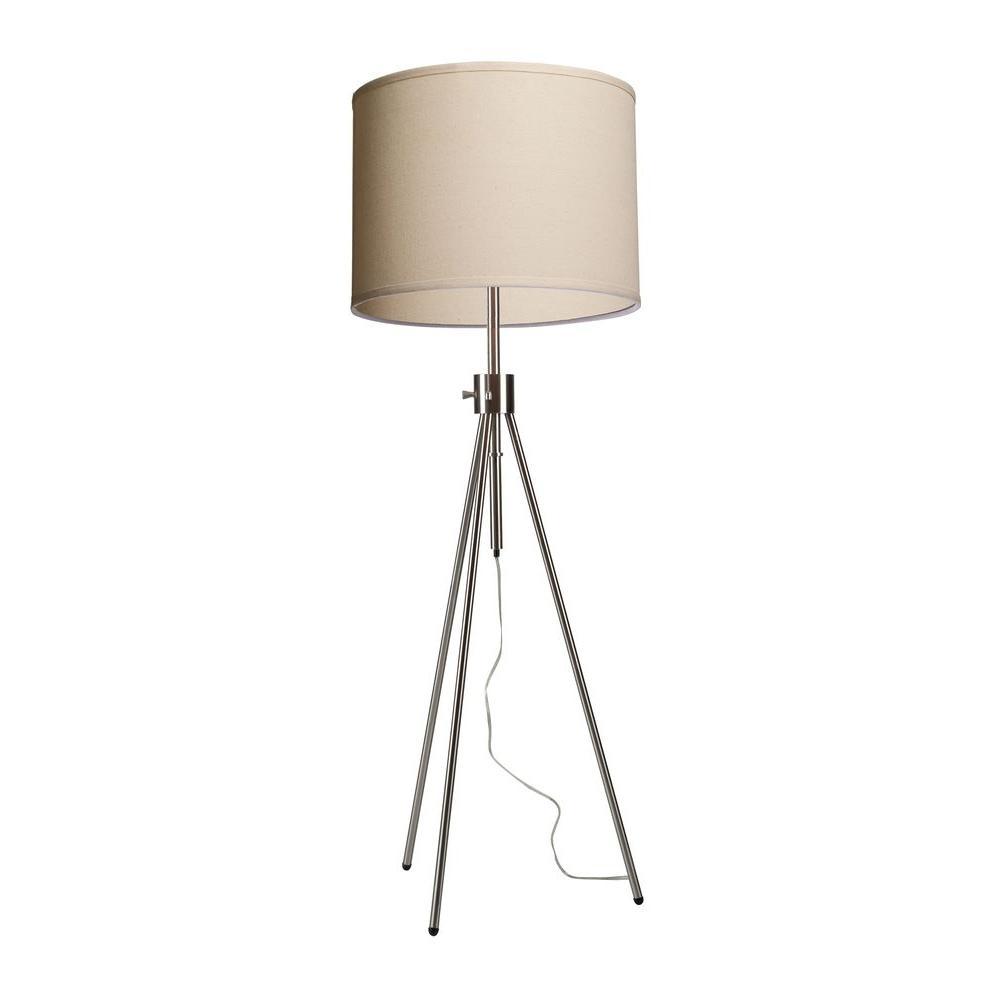Komendantov 57 in. Brushed Nickel Floor Lamp