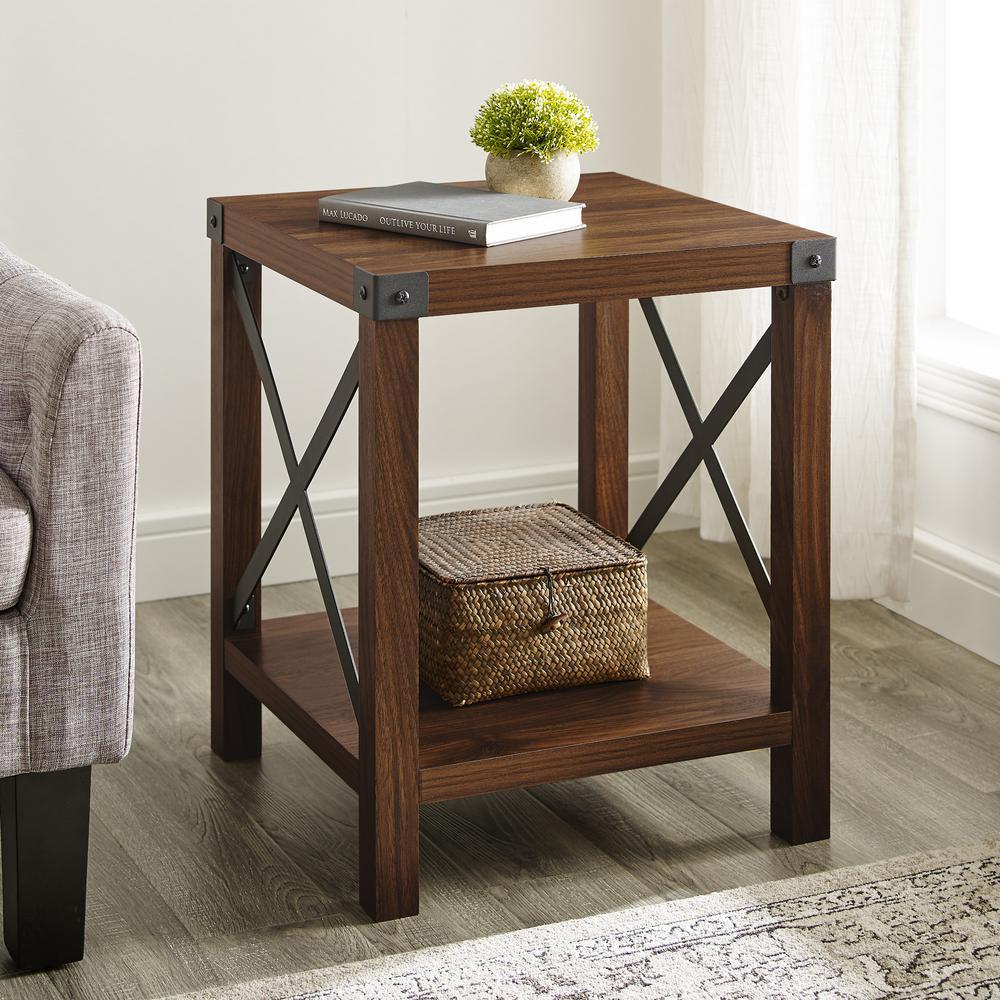 Dark Walnut Rustic Wood Side Table