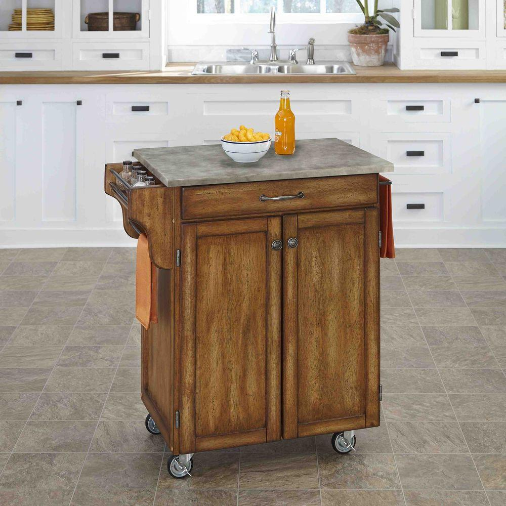 Home Styles Cuisine Cart Warm Oak Kitchen Cart With Concr...
