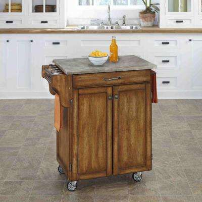Cuisine Cart Warm Oak Kitchen Cart With Concrete Top