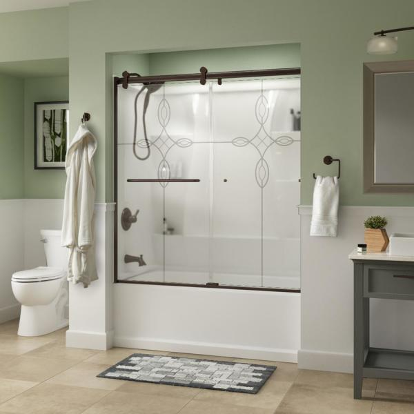 Simplicity 60 x 58-3/4 in. Frameless Contemporary Sliding Bathtub Door in Bronze with Tranquility Glass