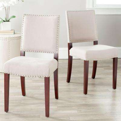 James Taupe/Cherry Mahogany Linen Side Chair (Set of 2)