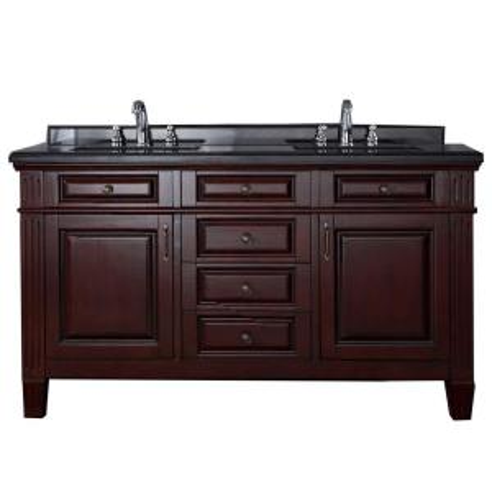 Carsen 60 inch Vanity in Chocolate with Granite Vanity Top in Black by