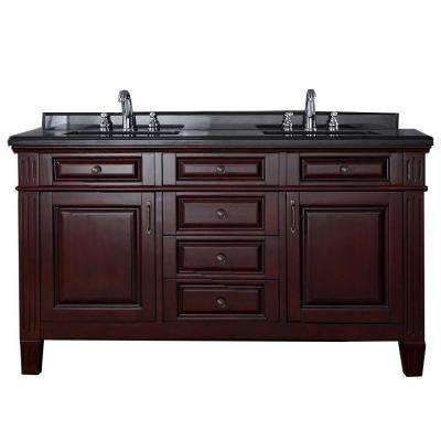 Carsen 60 in. Vanity in Chocolate with Granite Vanity Top in Black