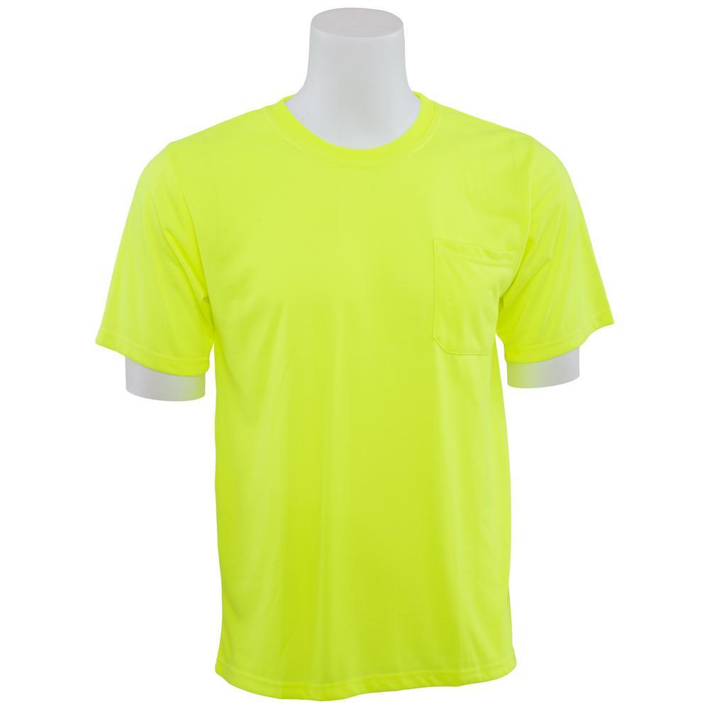 9601 4X Non-ANSI Short Sleeve Hi Viz Lime Unisex Poly Jersey T-Shirt