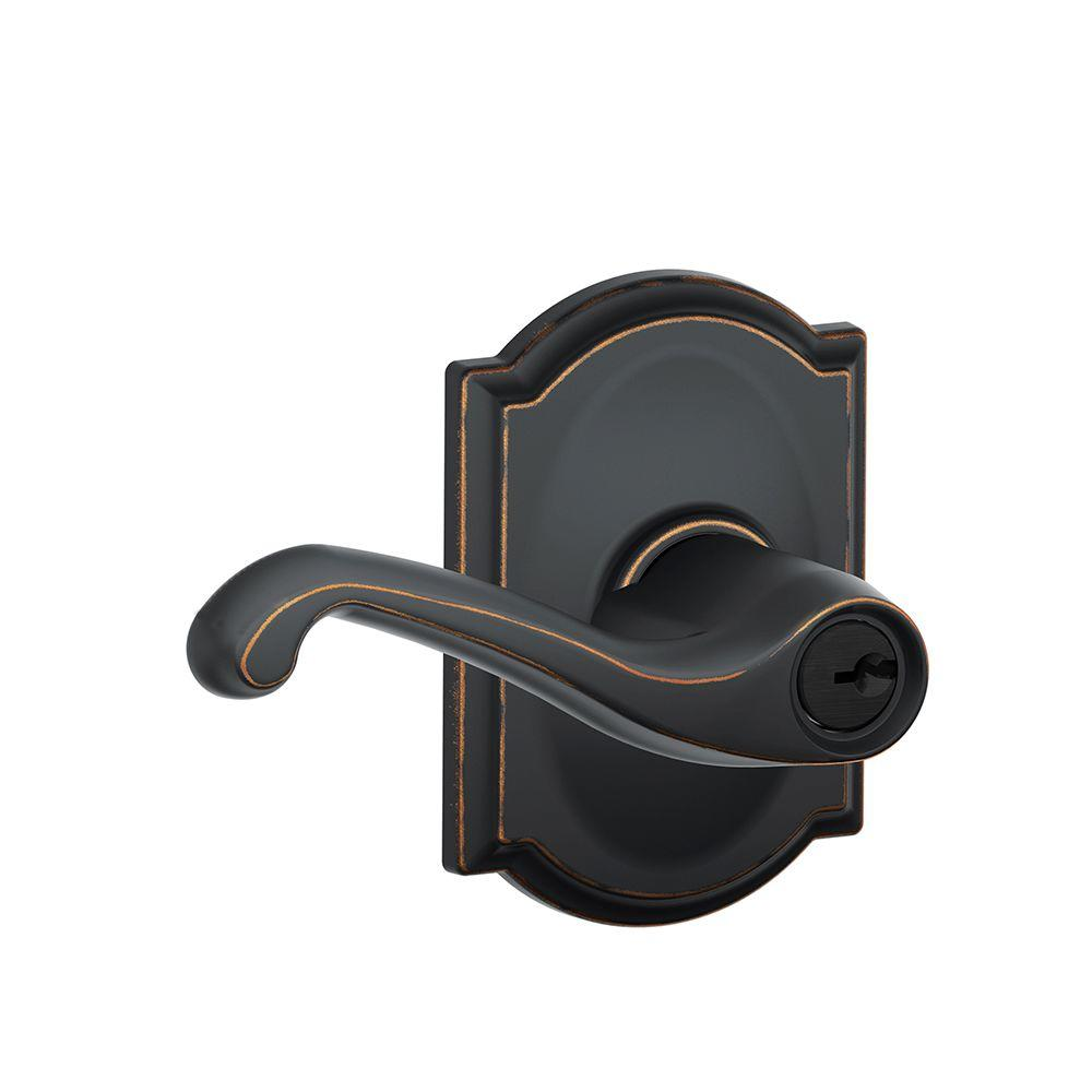 Camelot Collection Aged Bronze Flair Keyed Entry Lever