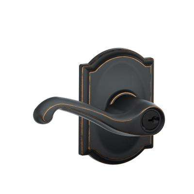 Flair Aged Bronze Keyed Entry Door Lever with Camelot Trim