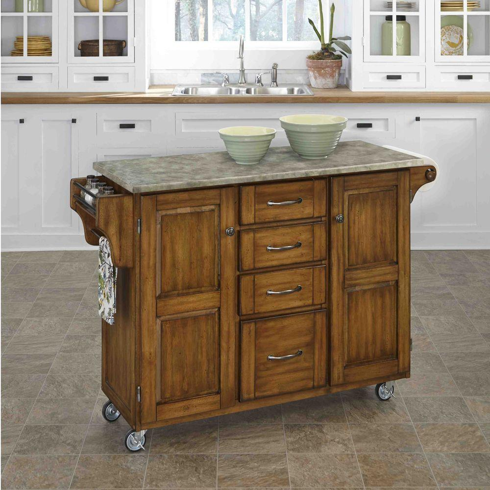 Create-a-Cart Warm Oak Kitchen Cart With Concrete Top