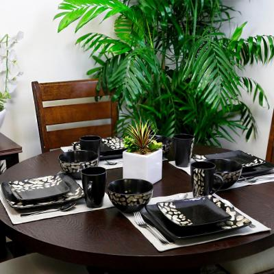 Savannah 16-Piece Modern Black Stoneware Dinnerware Set (Service for 4)
