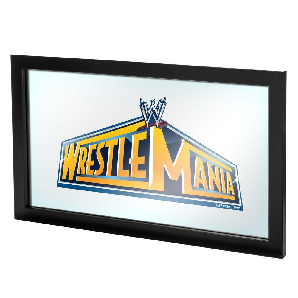 Trademark WWE Wrestlemania 29 15 in. x 26 in. Black Wood Framed Mirror