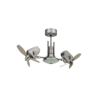 Mustang II 18 in. Dual Motor Oscillating Indoor/Outdoor Brushed Aluminum Ceiling Fan
