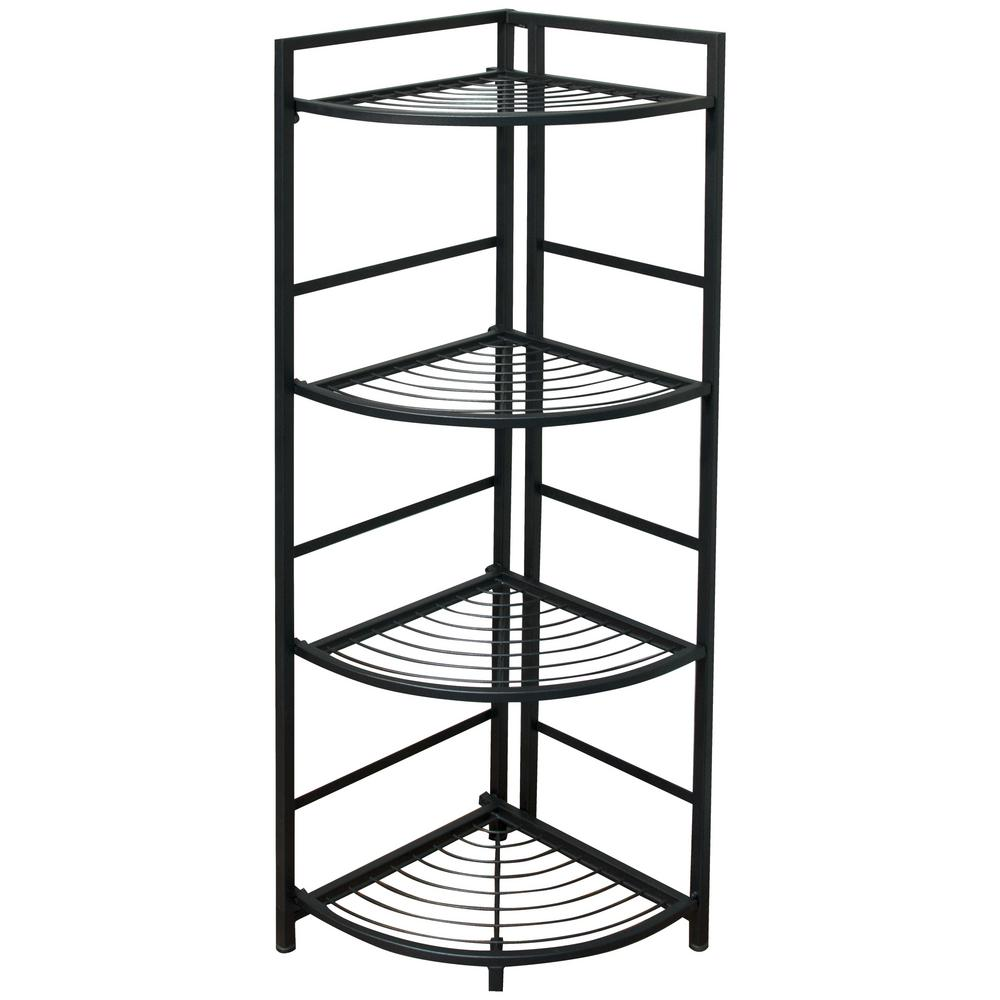 13 in. x 12 in. x 45.5 in. Black 4 Shelf Corner Unit Deco...
