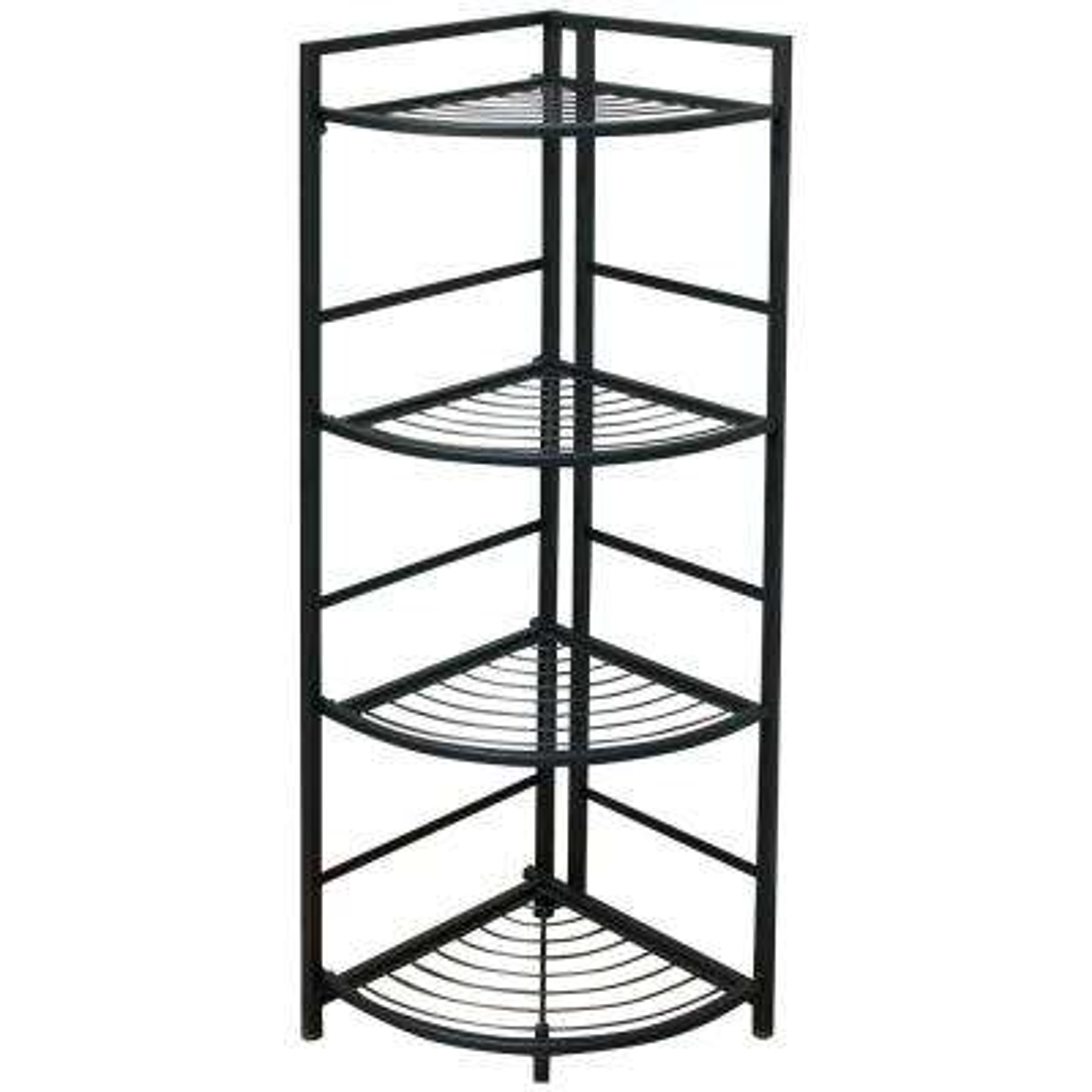 13 in. x 12 in. x 45.5 in. Black 4 Shelf Corner Unit Decorative Shelf