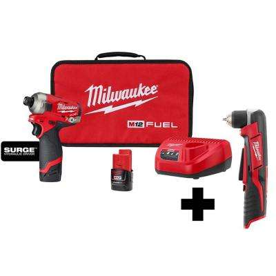 M12 FUEL SURGE 12-Volt Lithium-Ion Brushless Cordless 1/4 in. Hex Impact Driver Compact Kit w/Free M12 Right Angle Drill