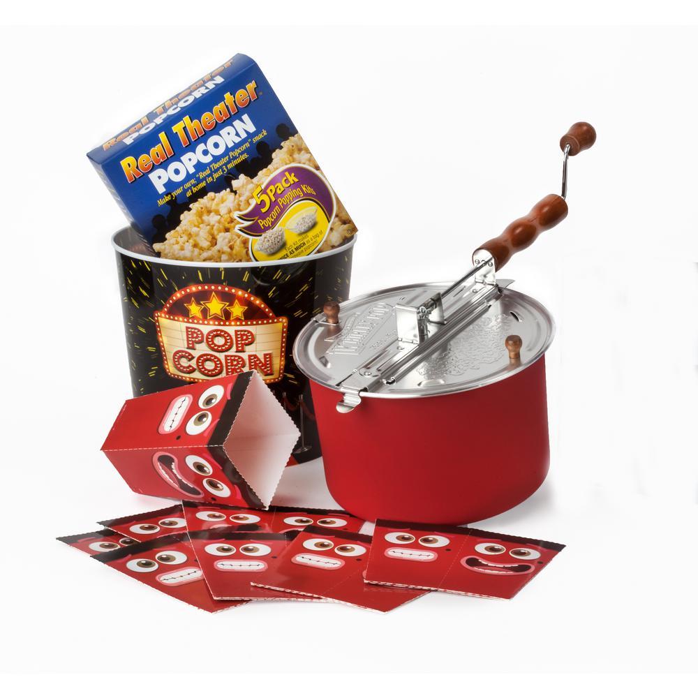15-Piece Aluminum Glossy Red Popcorn Popper Set