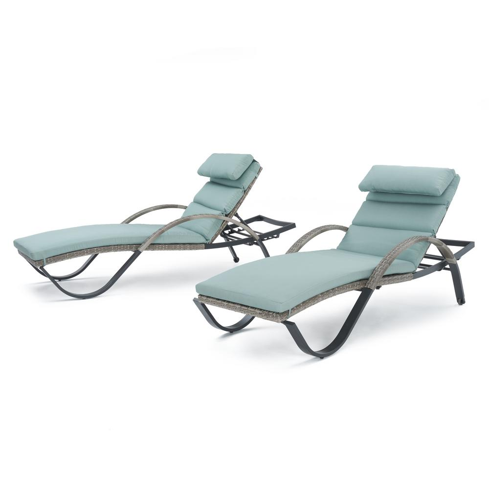 Cannes Patio Chaise Lounge with Bliss Blue Cushions (2-Pack)
