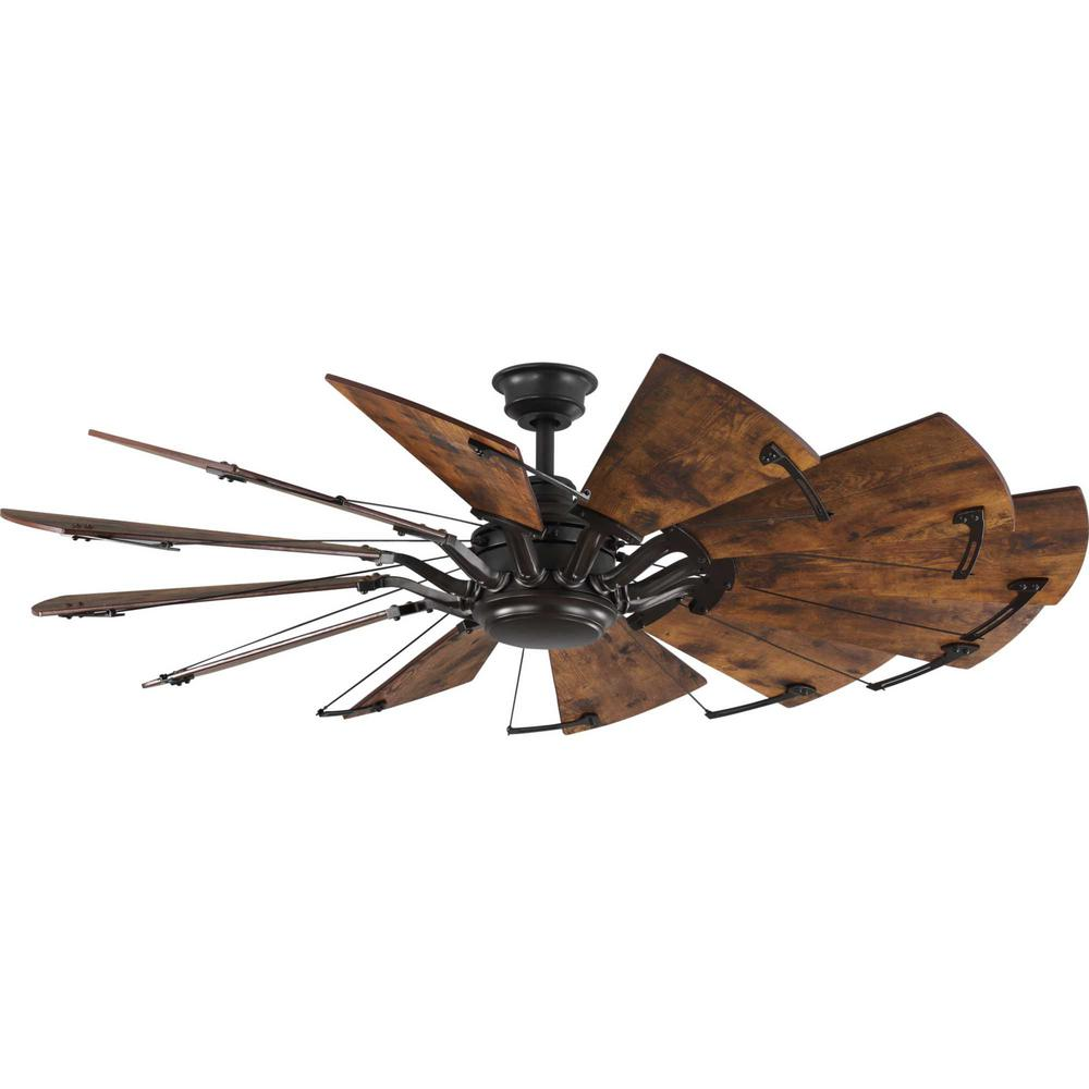 Progress Lighting Springer 60 in. 12-Blade Bronze Ceiling Fan