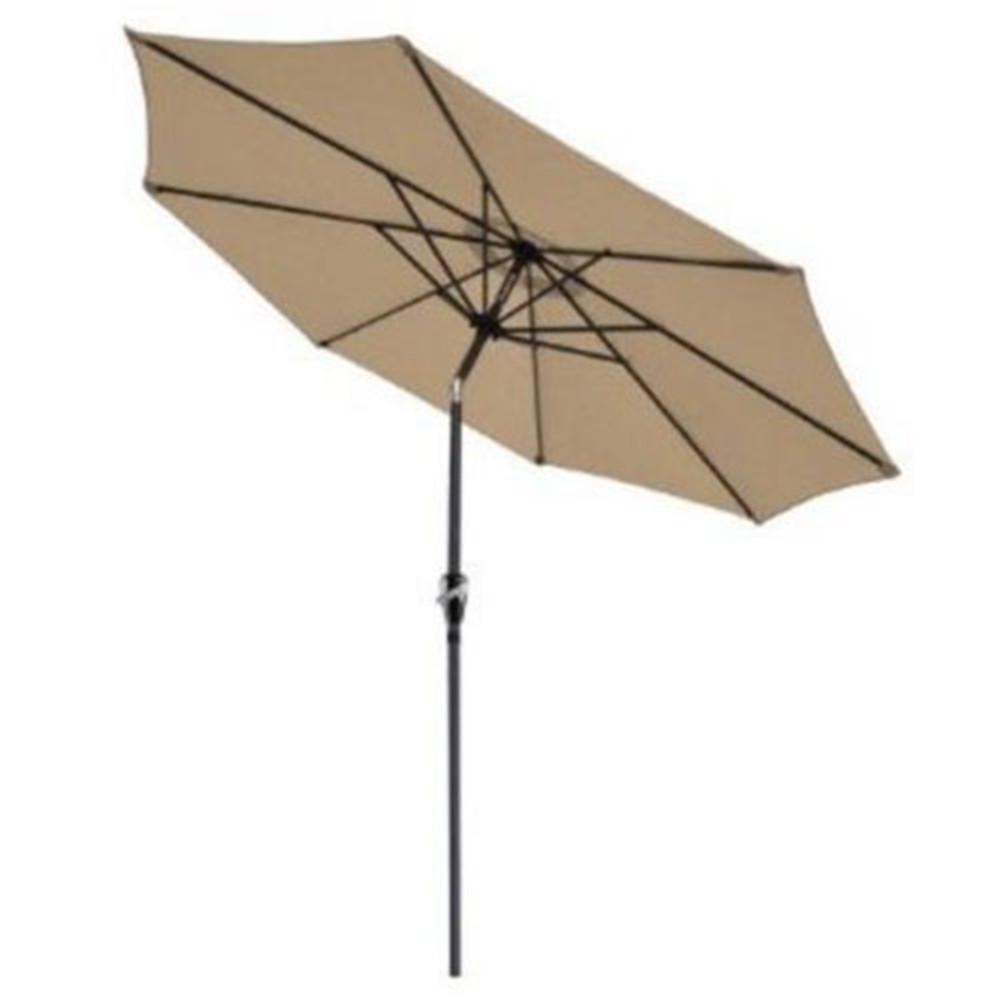 106 in. Hand-Cranking Style Waterproof Folding Sunshade Tawny