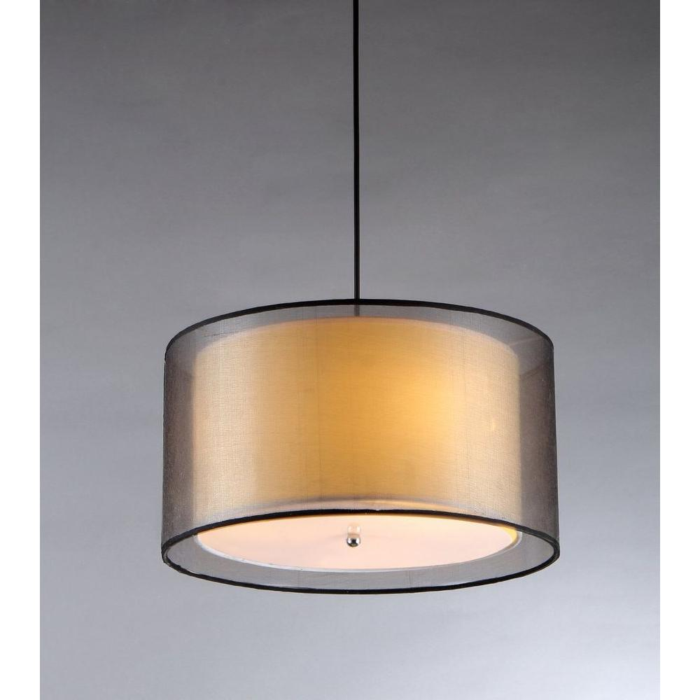 Warehouse Of Tiffany Fabiola 3 Light Black Brown Hanging Chandelier With Fabric Shade