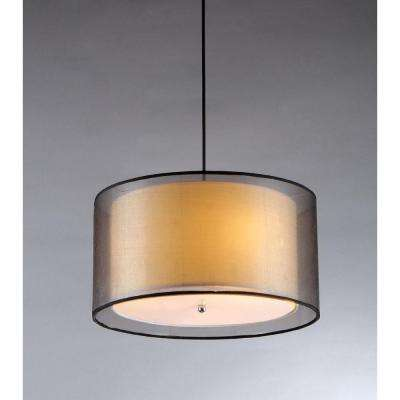 Fabiola 3-Light Black Brown Hanging Chandelier with Fabric Shade