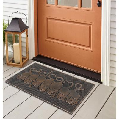 A1HC First Impression Cat Tail Welcome 18 in. x 30 in. Rubber Pin Door Mat